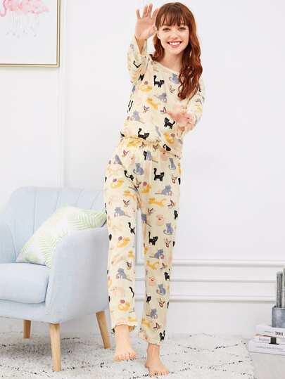 5d777d5b7f Cat   Butterfly Print Pajama Set