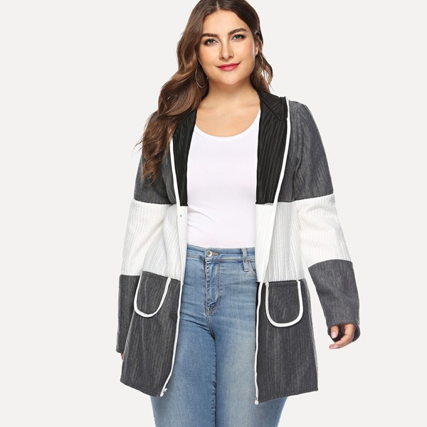 Colorblock Pocket Decoration Coat, Grey