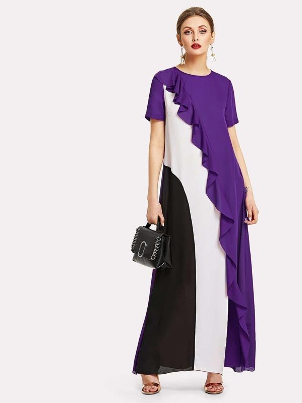 Vestido fruncido con costura-Spanish SheIn(Sheinside)