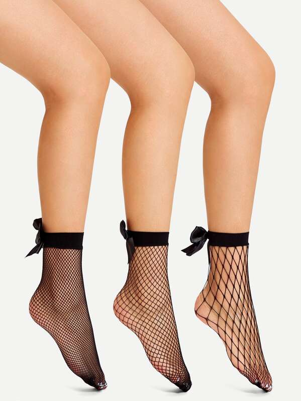 0ceaf572b Bow Decorated Fishnet Socks 3pairs -SHEIN(SHEINSIDE)