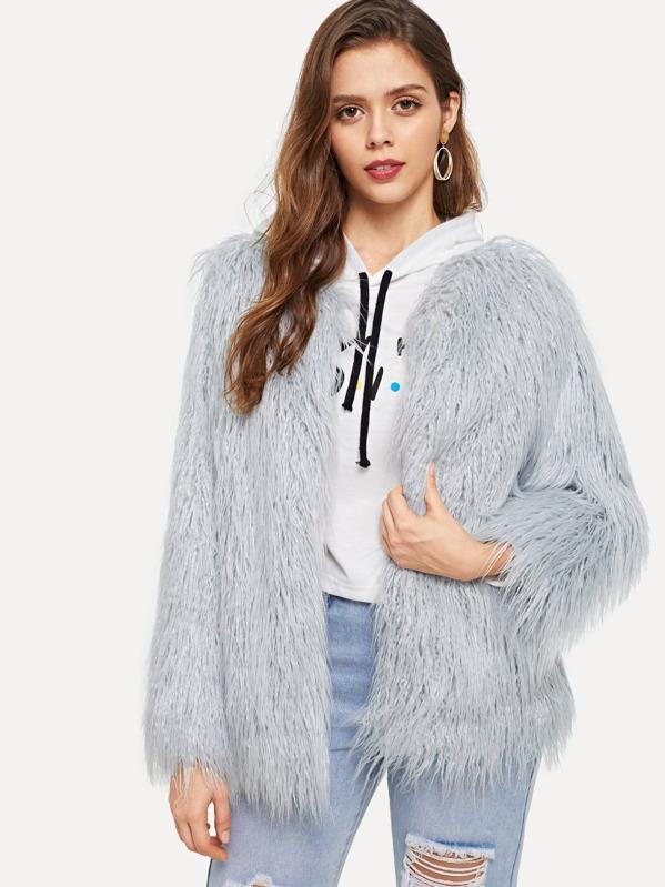875de0849d Open Front Solid Faux Fur Teddy Coat -SheIn(Sheinside)