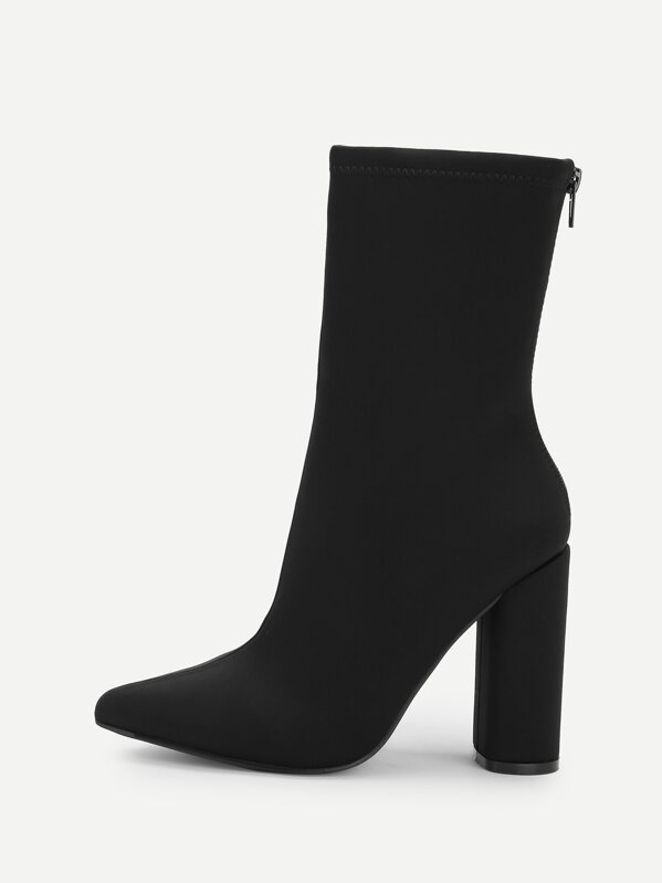 Point Toe Block Heeled Mid Calf Boots by Sheinside