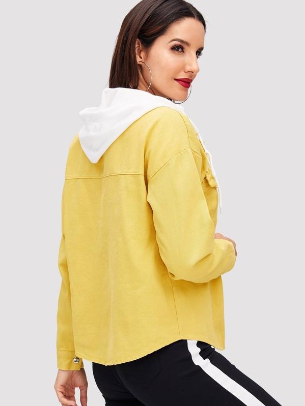 ac435f7bd8 Button Front Pocket Hooded Denim Jacket -SheIn(Sheinside)