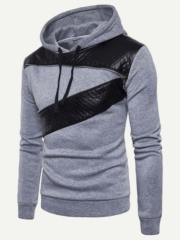 Men Contrast Pu Hooded Sweatshirt by Sheinside