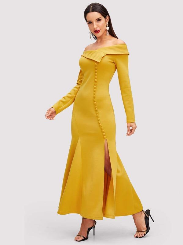 Fold Over Slit Fishtail Bardot Dress by Shein