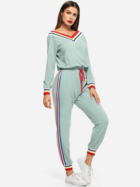 Contrast Striped Trim Drawstring Waist Jumpsuit by Shein