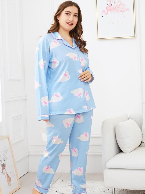bdb3b8fed1 Plus Allover Rabbit Print Pajama Set -SHEIN(SHEINSIDE)