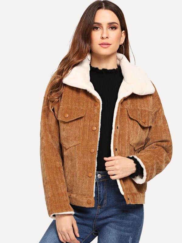 Faux Fur Lined Corduroy Jacket Shein Sheinside