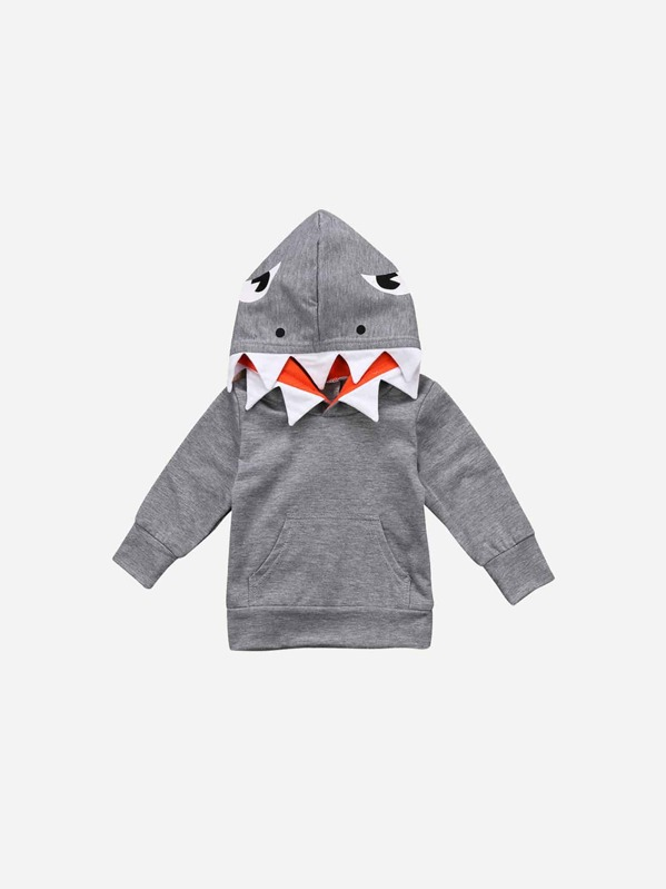 Toddler Boys Shark Hooded Sweatshirt, Grey