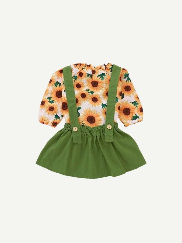 cde086847 Toddler Girls Sunflower Print Tee With Pinafore Skirt -SheIn(Sheinside)