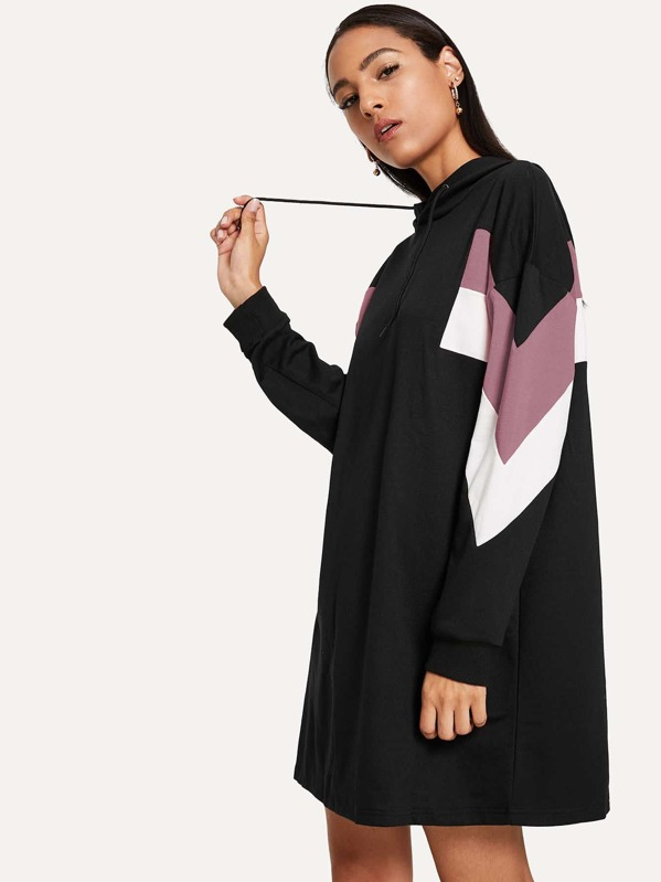 Cut & Sew Hooded Sweat Dress, Black, Kary