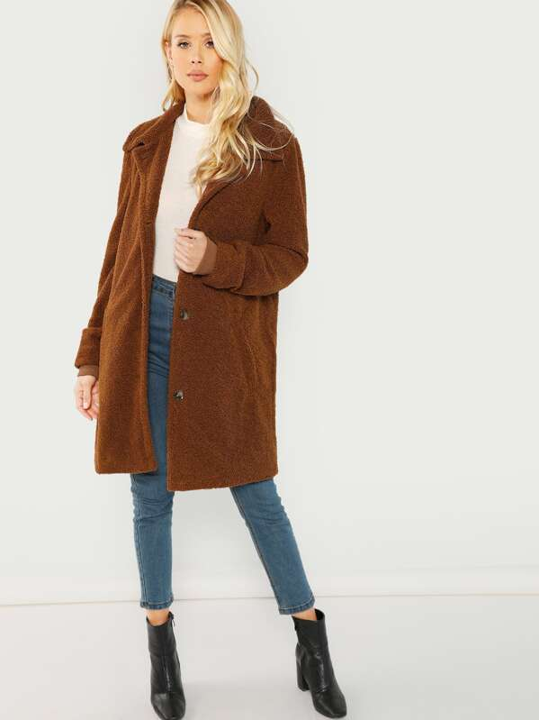 Pocket Side Single Breasted Placket Fuzzy Coat by Shein