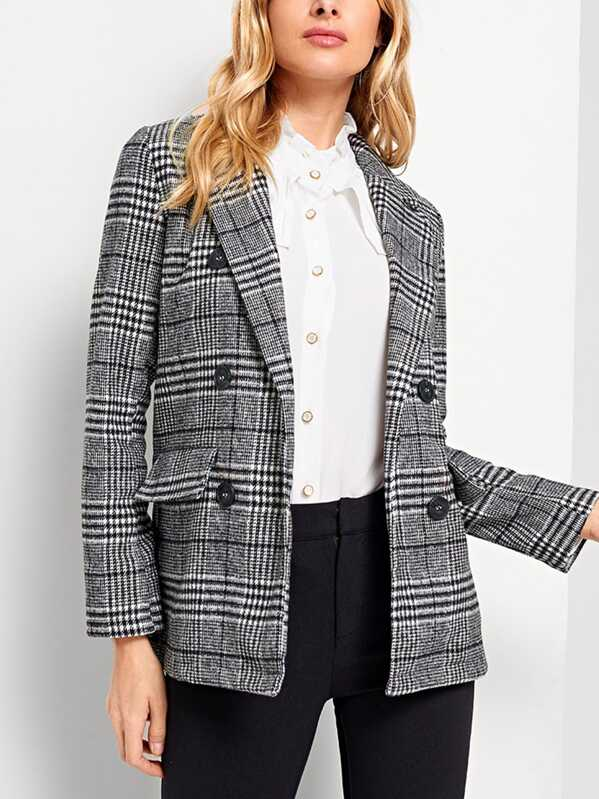 Plaid Double Breasted Blazer, Grey, Masha