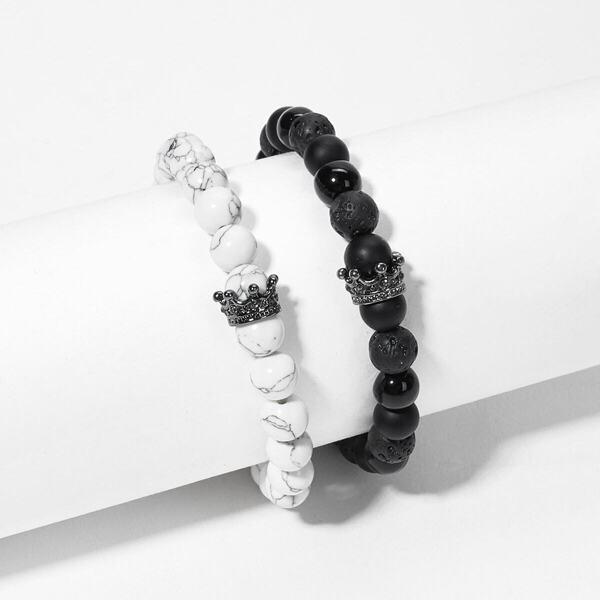 Men Marble Pattern Beaded Bracelet Set 2pcs, Black and white