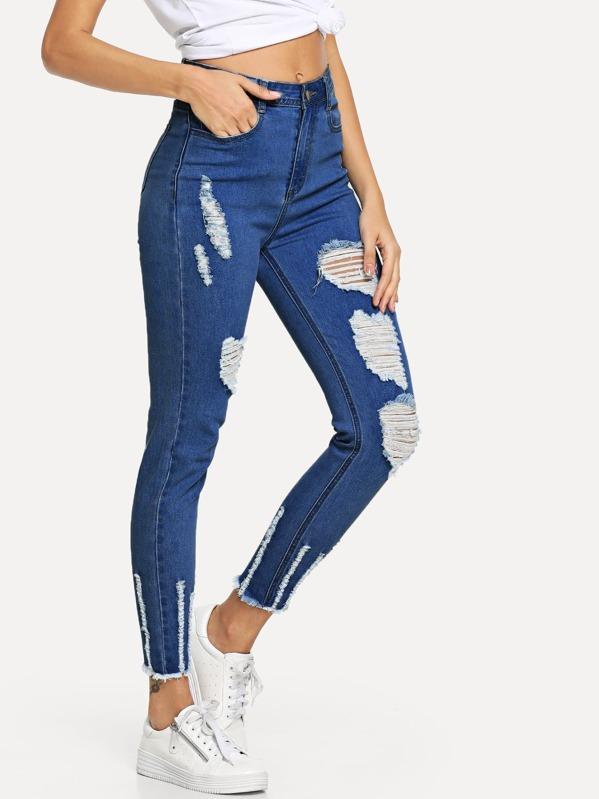 1ecde26508e7 Distressed Raw Hem Jeans -SheIn(Sheinside)
