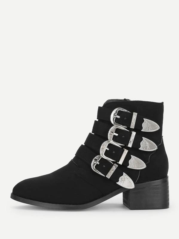 Side Zipper Buckle Boots by Sheinside