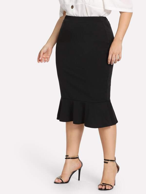 Plus Solid Mermaid Hem Skirt by Sheinside