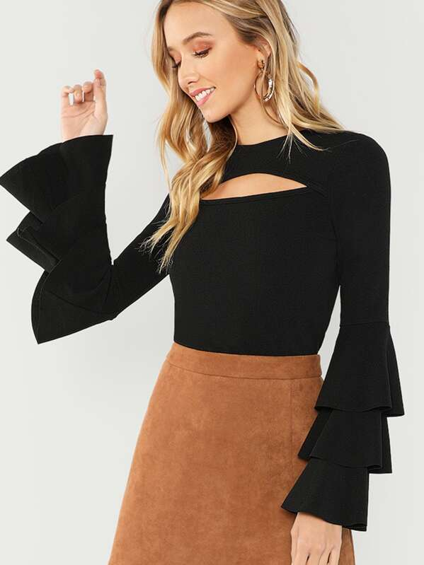 Cut Front Layered Sleeve Solid Tee by Shein