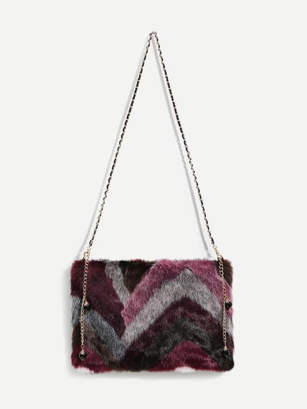 Faux Fur Design Chain Crossbody Bag -SheIn(Sheinside) 27bfc0a3e2587