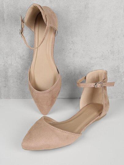 fc3f15386ad Pointy Toe Adjsutable Ankle Strap Flats