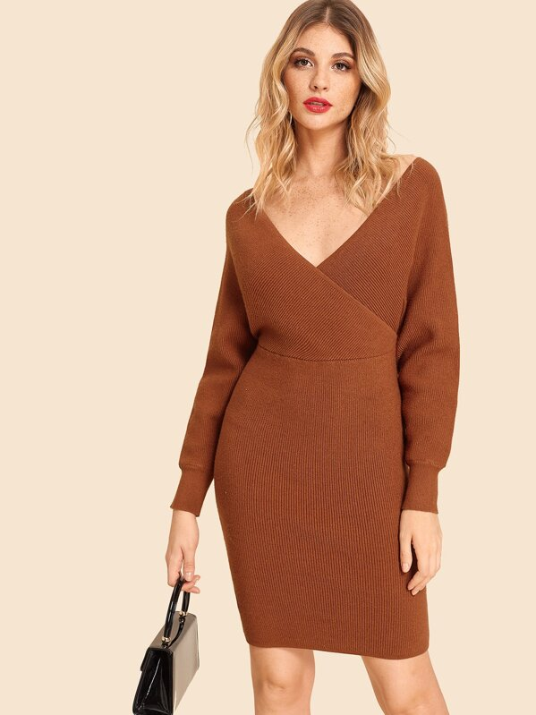 Double V Neck Slim Fitted Batwing Knit Dress by Shein