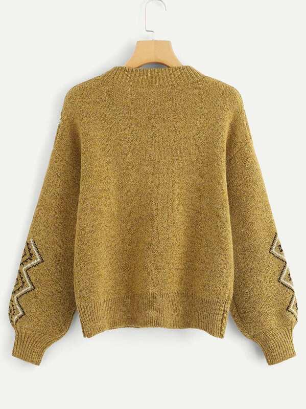 4ddc314c8a Bishop Sleeve Geo Print Sweater -SHEIN(SHEINSIDE)