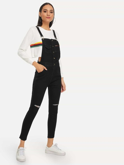 b4acb865155 Single Breasted Ripped Denim Overalls
