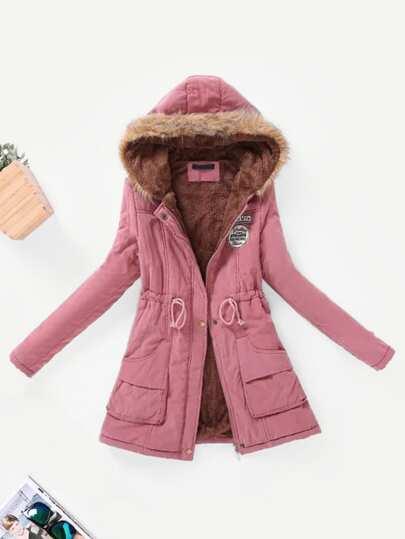 Manteau hiver femme rose poudre