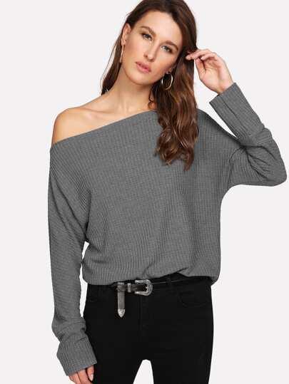 c63f754560364 Jersey liso con hombro descubierto - gris