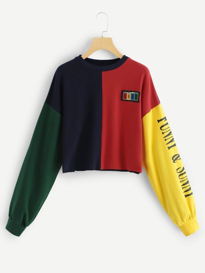 9b0504e3d036 Color Block Letter Print Sweatshirt