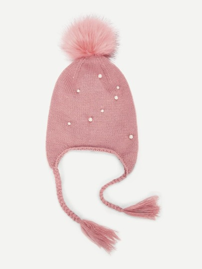 e7482fa3a15 Girls Pompom Decorated Beanie Hat With Braids -SheIn(Sheinside)