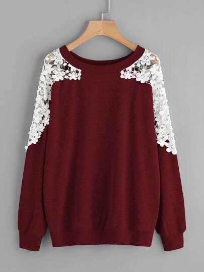 7cce6891fc5 Lace Panel Beaded Sweatshirt