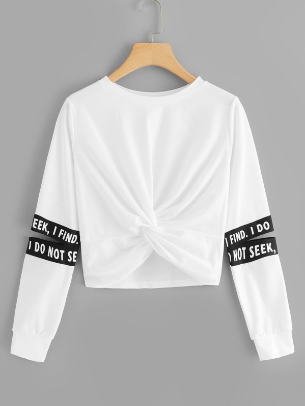 Twist Detail Letter Taped Sweatshirt, White