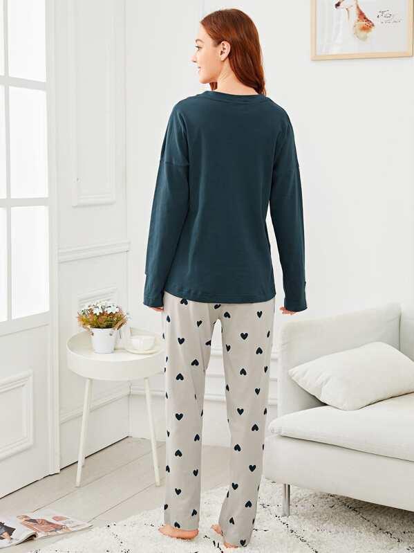 3ffa3d3c Conjunto de pijama con estampado de cisne y corazón
