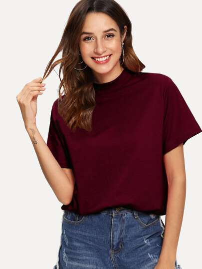 92b9bab46cd Stand Neck Solid Tee