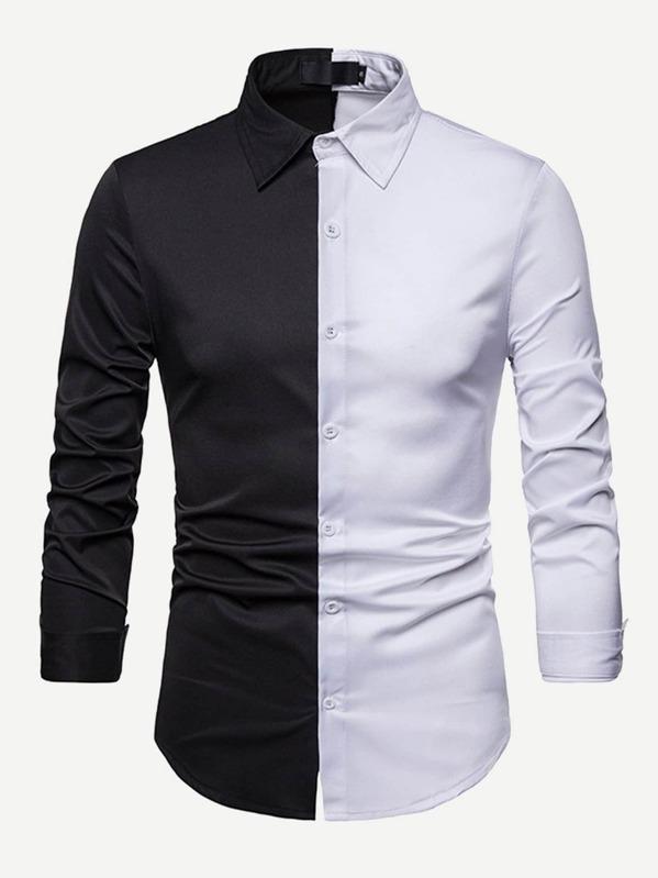 2032c5c49f51 Men Color Block Shirt -SHEIN(SHEINSIDE)
