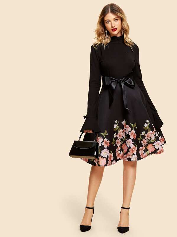 Self Tie Floral Print Dress by Sheinside
