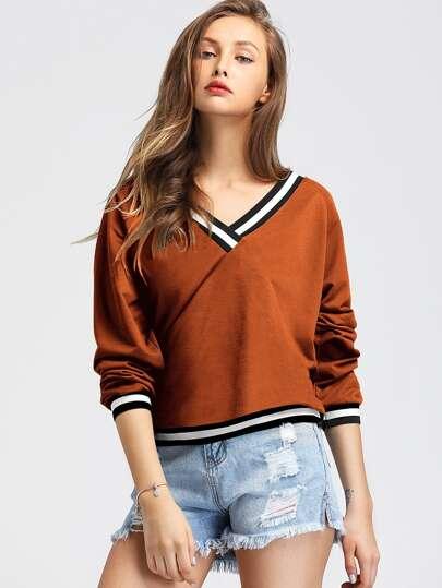 de0deb3a41c Contrast Striped V Neck Sweatshirt