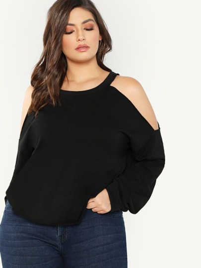 4735d830dd146 Plus Open Shoulder Sweatshirt
