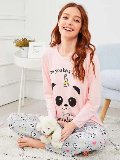 Panda   Letter Print Pajama Set 67b19c96a