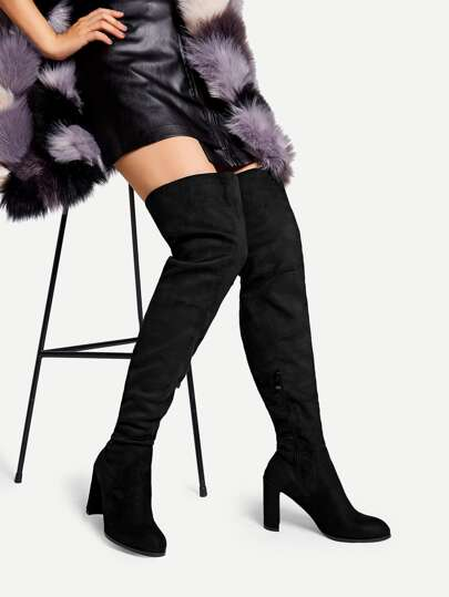 faa26295f22 Over The Knee Side Zipper Boots