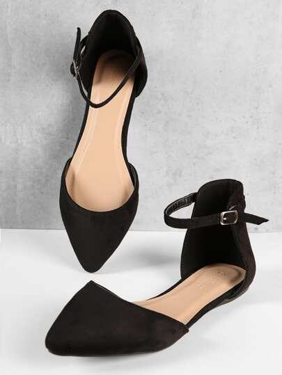 1648db5f3c63 Pointed Toe Ankle Strap Dorsay Flats