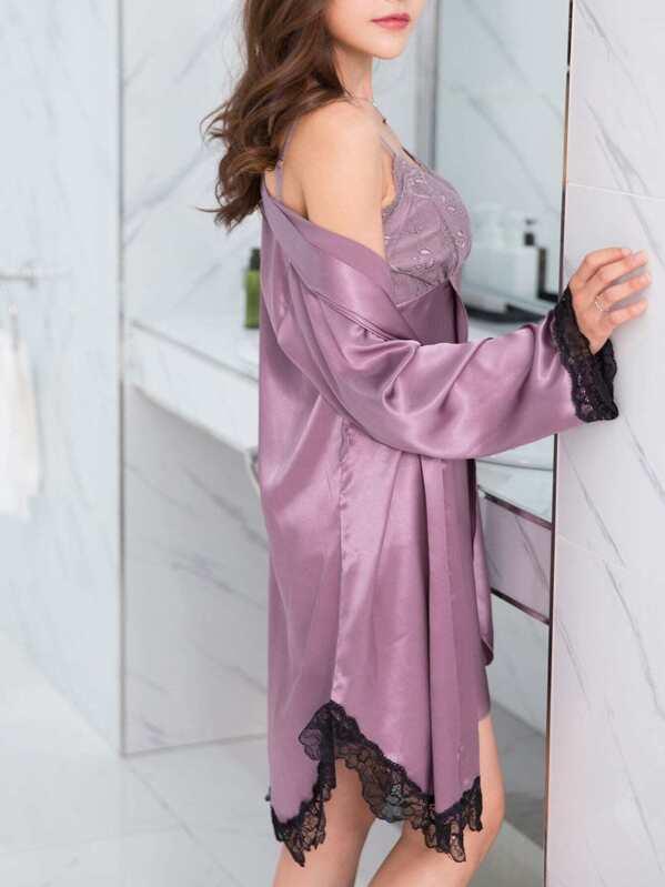 81601d15c6 Lace Trim Cami Dress With Robe -SheIn(Sheinside)