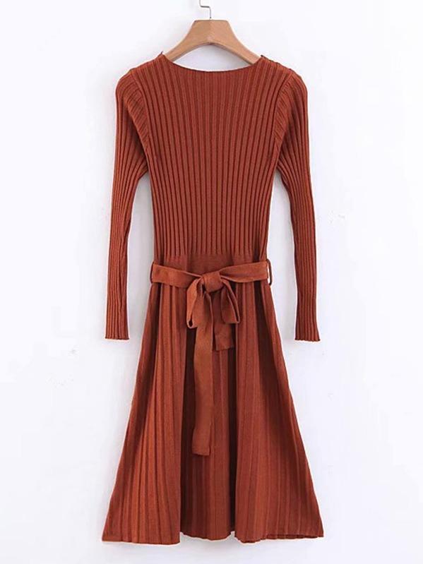 a229c23e4594 Robe pull tricotée côtelée à ceinture avec nœud devant-French  SheIn(Sheinside)