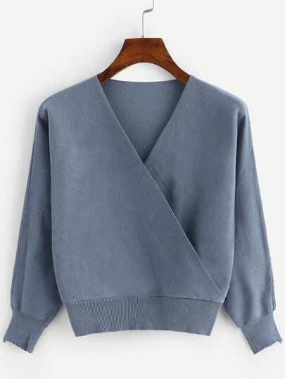 V Neckline Solid Knit Sweater acd0f5385