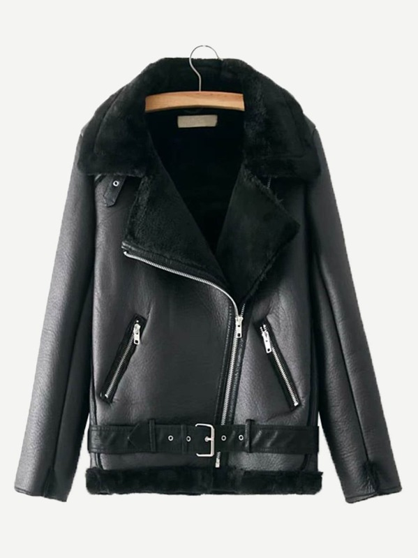 Zipper Front Contrast Faux Fur Jacket by Sheinside