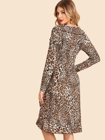 904c9db1231 Леопардовое платье с оборкой отделкой