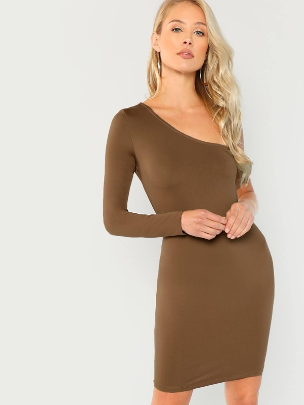 One Shoulder Form Fitting Dress by Shein