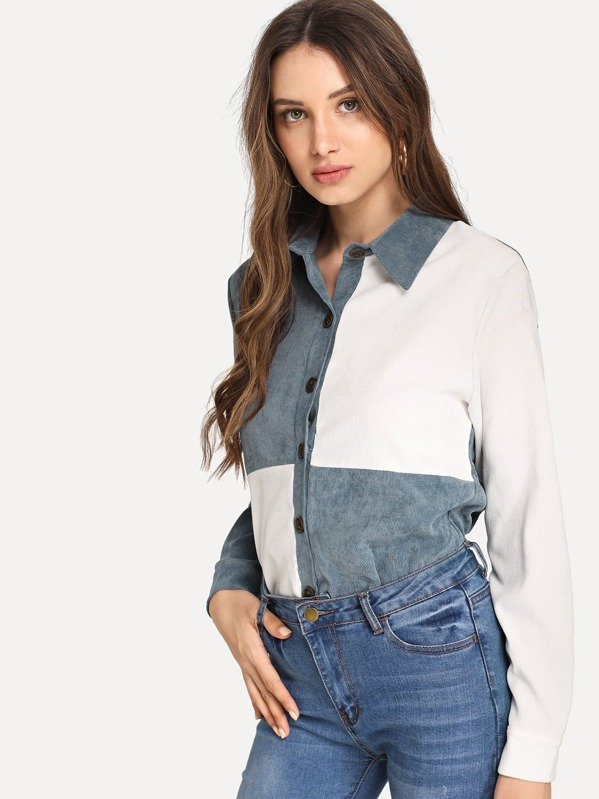 Colorblock Single Breasted Corduroy Blouse by Sheinside