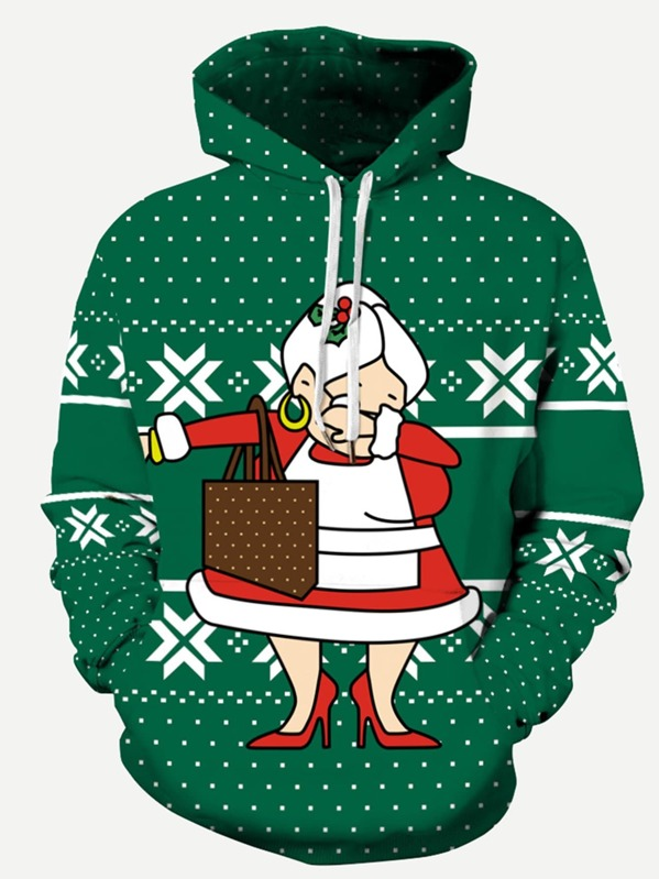 Men Christmas Snowflake Print Hooded Sweatshirt by Sheinside